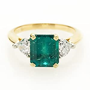Diamond & Emerald Platinum & 18k Yellow Gold Ring