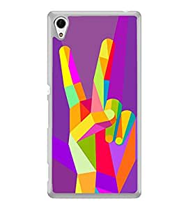 Colourful Victory Sign 2D Hard Polycarbonate Designer Back Case Cover for Sony Xperia Z4