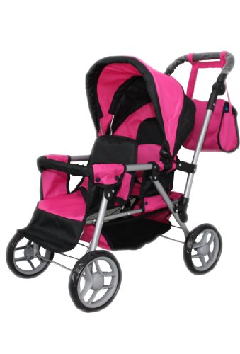 Mommy & Me Twin Doll Pram Back To Back Adjustable Handle With Free Carriage Bag 9386 front-283457