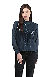Mayra Women's Georgette Shirt (1512T11176_L , Blue )