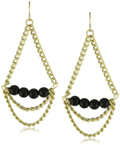 K. Amato Stone and Chain Black Drop Earrings