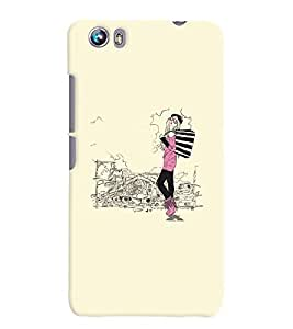 Fuson Shopping Girl Back Case Cover for MICROMAX CANVAS FIRE 4 A107 - D3795