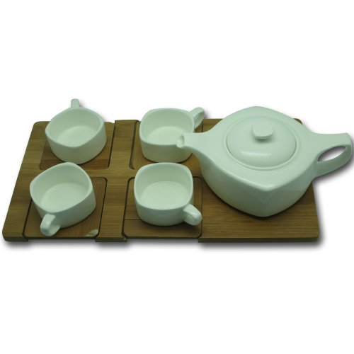 "Justfordecor White Ceramic Tea Set With Tray(White,H 4""  L 13.75""   W 7.75"" )"