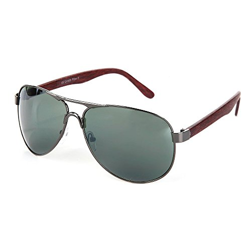 Ocona© occhiali, unisex, effetto occhiali da aviatore Aviator stile e manico in legno, con custodia, Unisex, grüne Gläser (dunkle Bügel)