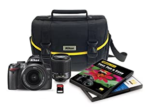Nikon D3000 10.2 MP Digital SLR 6 Piece Bundle with 18-55mm f/3.5-5.6G AF-S DX & 55-200mm f/4-5.6G ED AF-S DX Nikkor Zoom Lenses