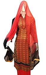 Women's Semi-Stitched Black & Red Crepe Suit
