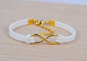 Bracelet Infini Cordon Blanc - Argenté