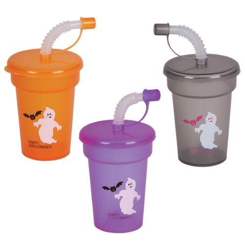 Dozen-Assorted-Halloween-Design-6oz-Sipper-Cups-WStraws-Lids