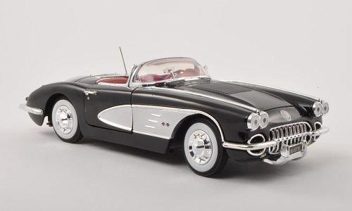 chevrolet-corvette-c1-negro-plateado-1958-modelo-de-auto-motormax-118