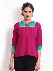 Mirage Women Fuschia Pink Contrast Trim Ethnic Top Size (L)