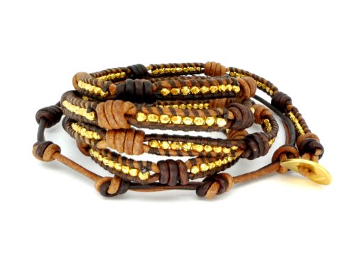Chan Luu Knotted Brown Real Leather & Gold Vermeil Beads Wrap Bracelet