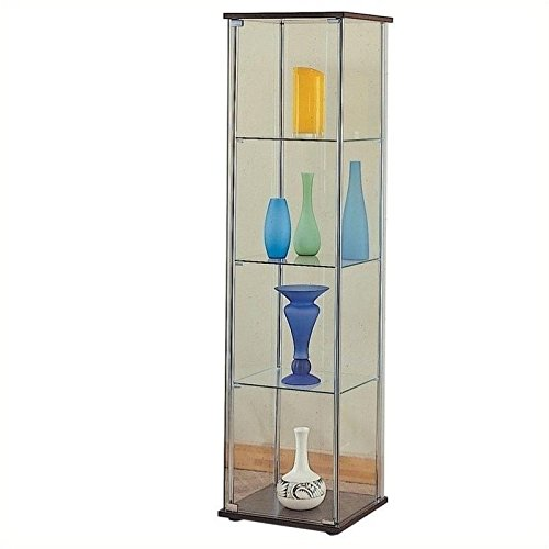 Coaster Modern Contemporary Glass Curio Cabinet with Cappuccino Top and Bottom (Corner Display Cabinet compare prices)