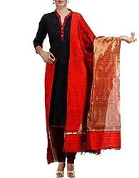 Unnati Silks Women Red Pure Handloom Ghicha Tussar Silk dupatta