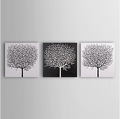 Sanbay Art 100% Hand Painted Oil Paintings on Canvas Hot Sale Dense Tree Wood Framed Inside 3-pieces Set Artwork for Living Room Kitchen and Home Wall Decoration