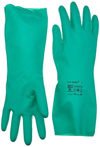 Ansell Solvex 37-675-Guanti in nitrile, chimiche & liquido protezione, 7, Verde, 12