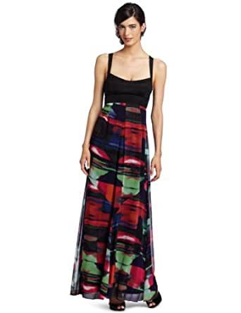 Jessica Simpson Women's Maxi Dress with Criss Cross Back, Prism Firecracker, 4