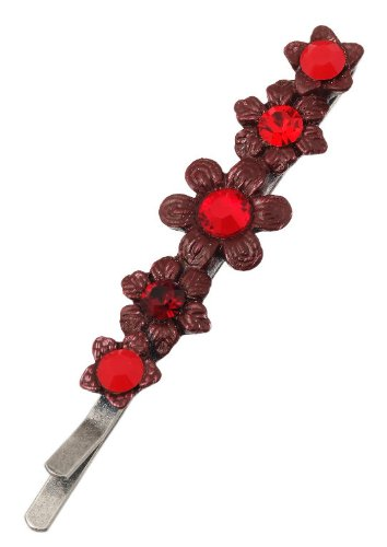 Michal Negrin Silver Coating Hair Pin with Hand-painted Flower Center and Red Swarovski Crystals - Victorian Style; Hand-made in Israel