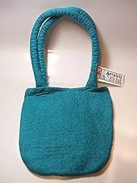 Artgirlz Wool Felt Big Bag Large Pocketbook Turquoise Felting Embellishment Base