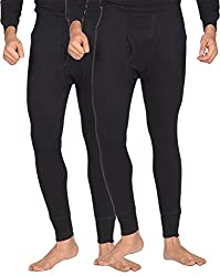 Dora Men's Poly Cotton Thermal Pants (Pack of 2, 1151-Black_75, Black, 75)