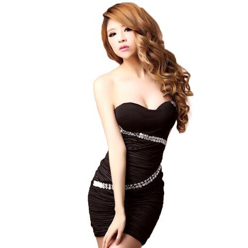 【Sexy Queen】 バイアスストーン ビジュー付き ベアトップ ミニ ドレス 透明ストラップ付き タイト ワンピース ボディコン ブラック 黒