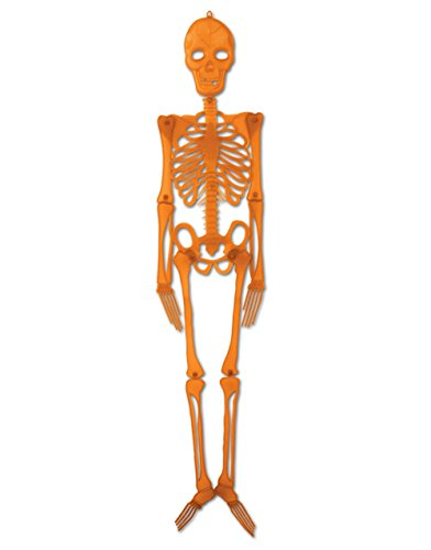 4' Orange Hanging Plastic Skeleton Creepy Halloween Decoration