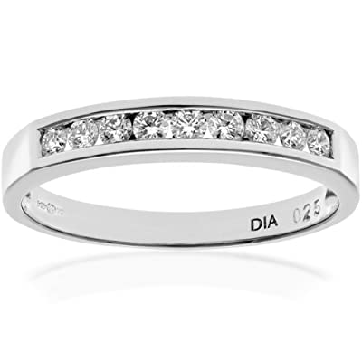 Ariel Platinum Channel Set Half Eternity Ring, IJ/I Certified Diamonds, Round Brilliant