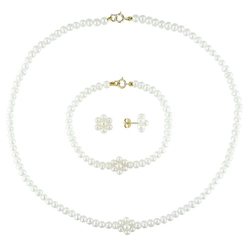 14K Yellow Gold Freshwater Cultured Pearl Baby Necklace, Bracelet and Earrings Set, 14