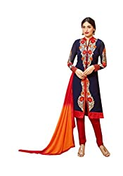 Amyra Women's Georgette Dress Material (AC795-01, Blue)