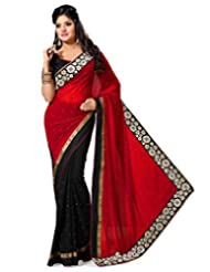 Black And Red Faux Georgette Saree With Blouse