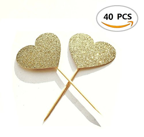 40PCS IFfree Best Heart Cupcake Toppers, Gold Glitter Heart Large Cupcake Toppers Golden Wedding,Weddings, Bridal or Baby Shower. (Bridal Shower Cupcake Toppers compare prices)