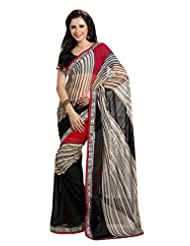 Indian Designer Sari Smart Stripes Printed Faux Georgette Saree By Triveni