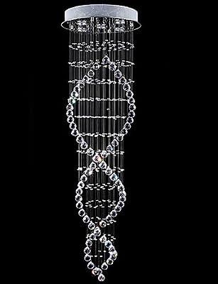 "LIN Stairs Lighting Indoor Crystal Chandeliers Pendant Lamp Lighting D17.71"" H70.87"""