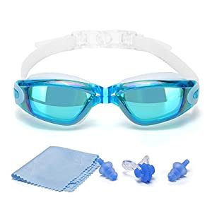 [#1 TOP RATED SWIM GOGGLES]Swimming Goggles with Free Protective Case, Nose Clip, Ear Plugs,for Adult Men Women Youth Kids Child,Swim Goggles with 100% UV Protection,Anti Fog Technology Ultra Comfort