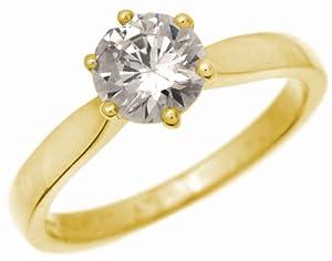 Bague Femme Solitaire Fiancailles Or 750/1000 et Diamant Brillant 1.00 Carat JK-I3 Taille 51