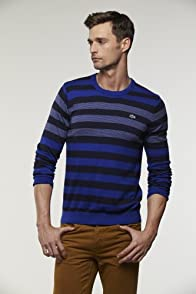 Cotton Cashmere Engineered Stripe Crewneck Sweater