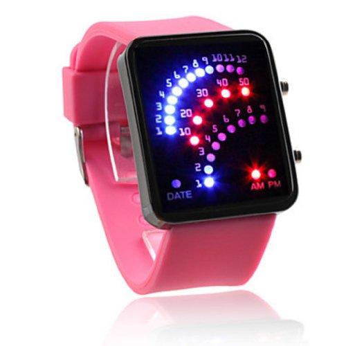 Baolihao-29 Led Silicone Purple Red Band Wrist Watch Wth0341