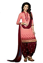 Sanchey Women's Georgette Unstitched Dress Material (754617_Old Rose_Free Size)