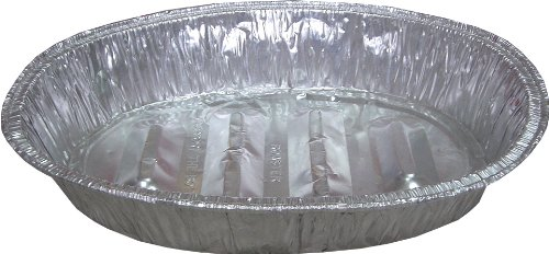 Large Oval Aluminum Roaster BBQ Foil Catering Pan - Disposable (Case Of 100)