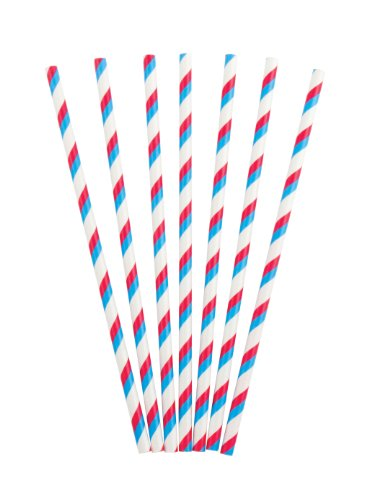 Party Partners Design Retro Paper Straws, Red/Blue, 25 Count