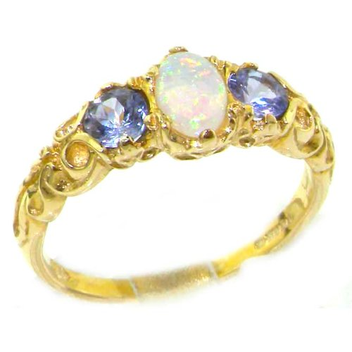 Ladies Solid Yellow Gold Natural Opal & Tanzanite English Victorian Trilogy Ring - Size 12 - Finger Sizes 5 to 12 Available - Suitable as an Anniversary ring, Engagement ring, Eternity ring, or Promise ring