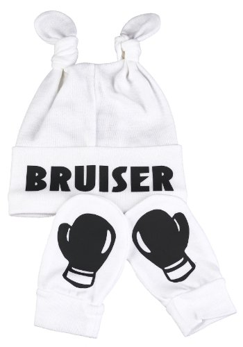 Spoilt Rotten - Bruiser Knot Hat & Boxing Gloves Scratch Mits Baby Set