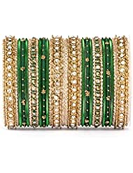Elegant All Green Thread Bangle Set By Leshya For Two Hands
