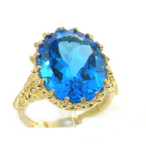 Luxury Solid Yellow Gold Large 16x12mm Oval 8.5ct Natural Blue Topaz Ring - Size 12 - Finger Sizes 5 to 12 Available - Suitable as an Anniversary ring, Engagement ring, Eternity ring, or Promise ring