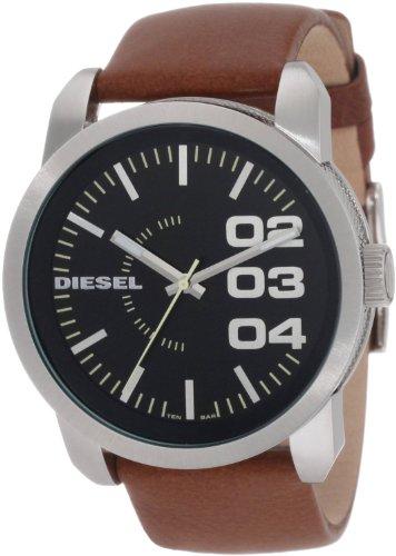 Diesel Black Dial Tan Leather Strap Mens Watch DZ1513