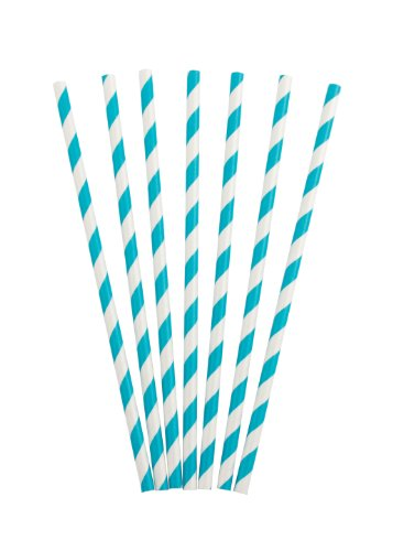 Party Partners Design Retro Paper Straws, Blue/Green, 25 Count