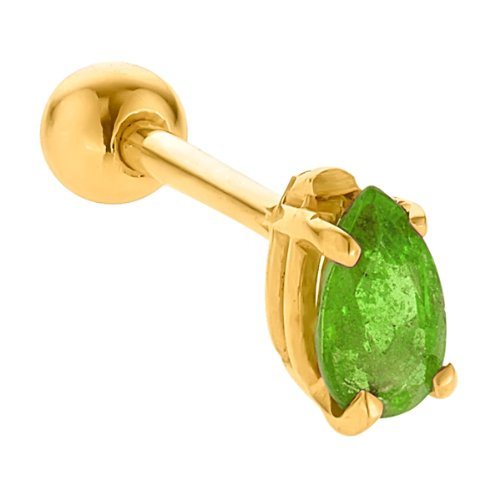 5mm Peridot Prong Set Teardrop 14K Yellow Gold Cartilage Stud Earring