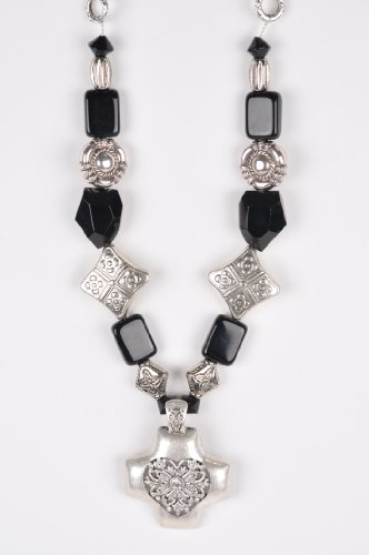 Black and Silver Tone Chunky Beaded Necklace Handmade by Me'Lani Africa
