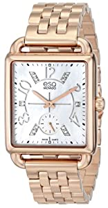 ESQ Movado Women's 07101416 Origin Ionic Rose Gold-Plated Steel Case Bracelet White Mother-Of-Pearl Dial Diamond Accents Watch