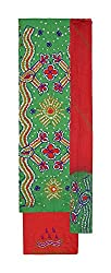 Bandhej Mart Women's Cotton Salwar Suit Material (Green and Red)