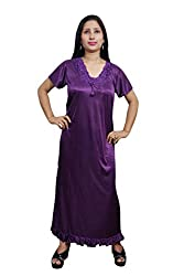 Indiatrendzs Women Sexy Nighty Purple 4pc Set Nightwear Nightwear Robe, Top & Pajama